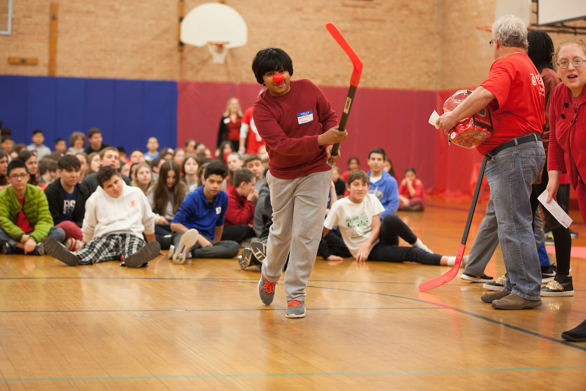 The Red Nose Rally included games to keep students moving and engaged.
