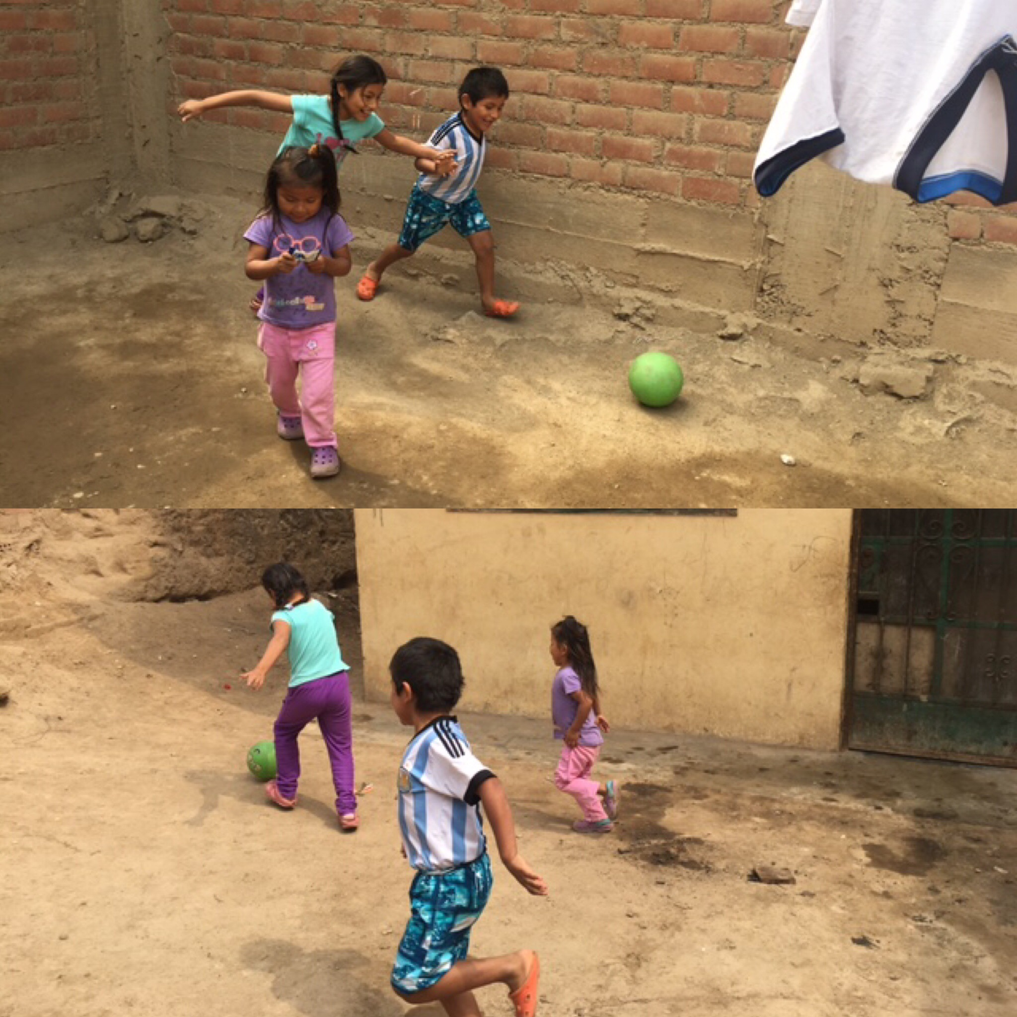 Julieth plays soccer with her siblings.