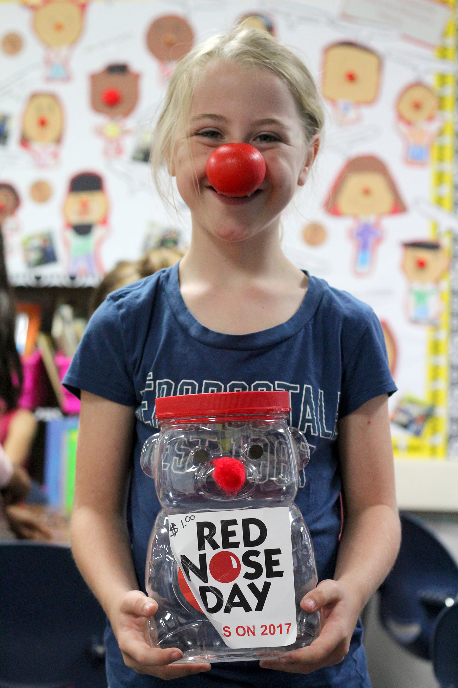 Hold a penny drive for Red Nose Day.