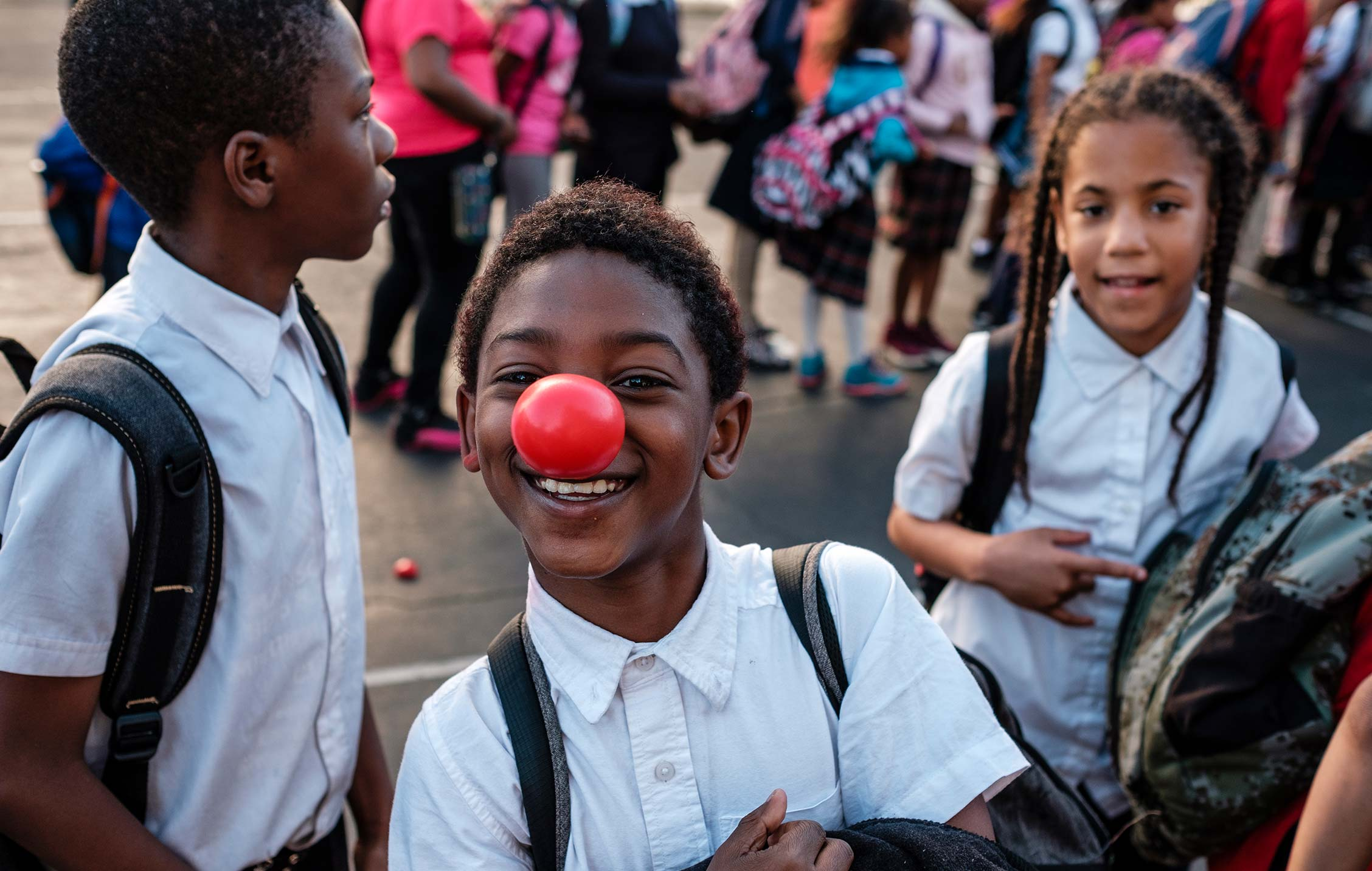 Children at a Boys & Girls Club Red Nose Day Block Party in Summer 2018