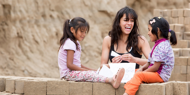 Michelle Rodriguez and kids in Peru