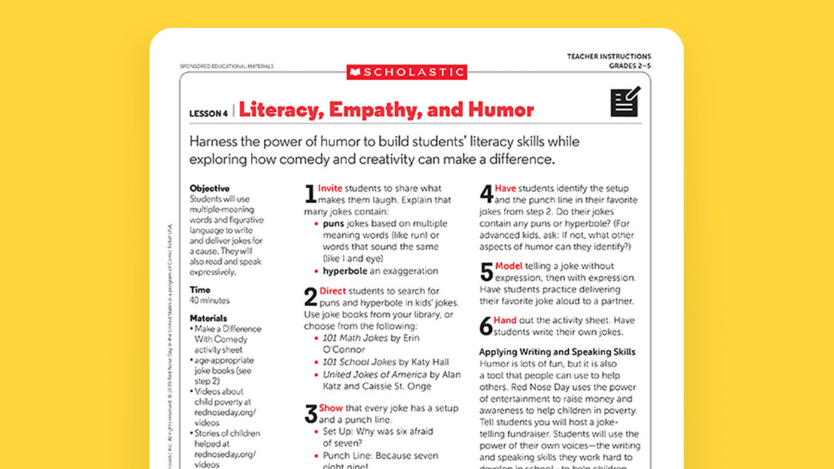 Teaching Empathy Lesson Plans Red Nose Day USA