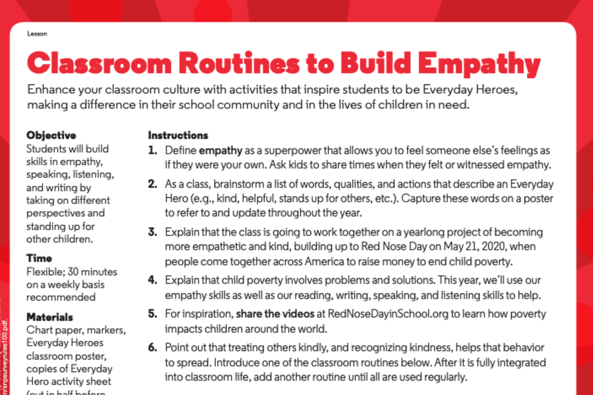 Classroom routines to build empathy