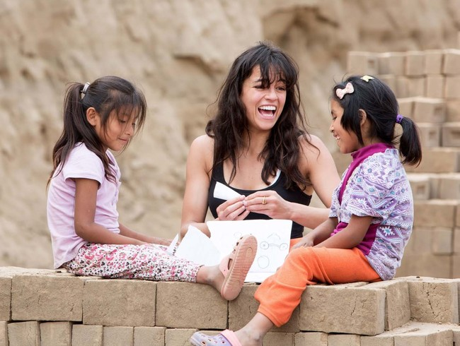 Michelle Rodriguez learns about child labor in Peru